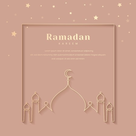 Ramadan Mubarak with mosque vector Illustration