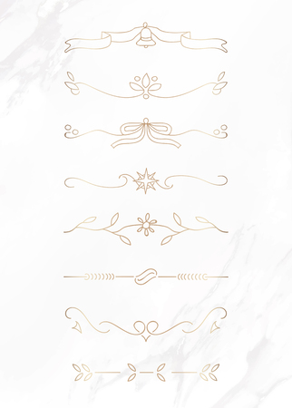 Gold feminine ornamental dividers vector collection  イラスト・ベクター素材