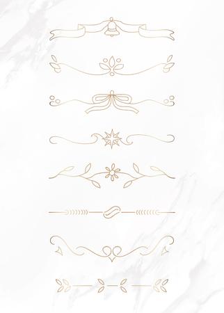 Gold feminine ornamental dividers vector collection Illustration
