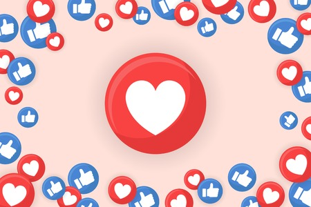 Heart icon themed border background vector Illustration