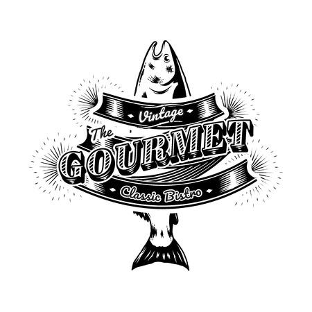 Vecteur de logo vintage de restaurant de fruits de mer