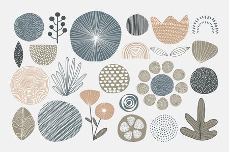 Natural patterned doodle background vector Çizim