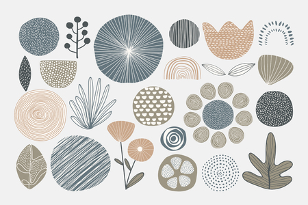 Natural patterned doodle background vector  イラスト・ベクター素材