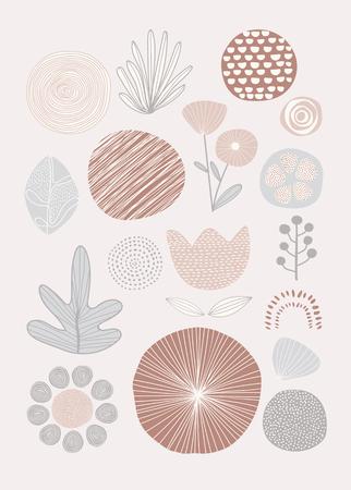 Natural patterned doodle background vector Иллюстрация