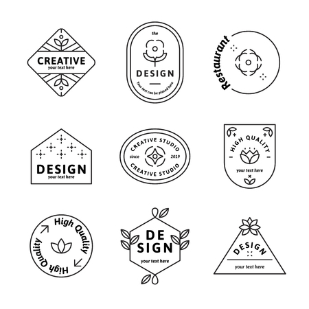 Geometric shaped badge collection vector Stock Illustratie