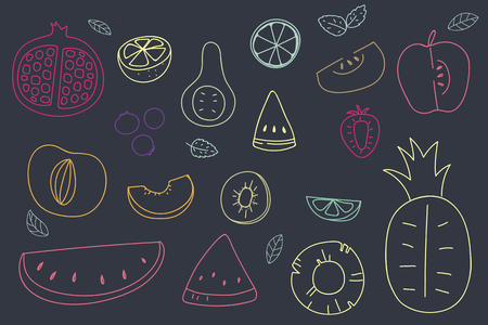 Summertime fruit doodle vector collection Illustration