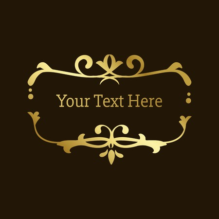 Golden vintage ornamental frame vector in black