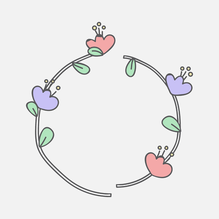 Colorful botanical wreath on white background vector