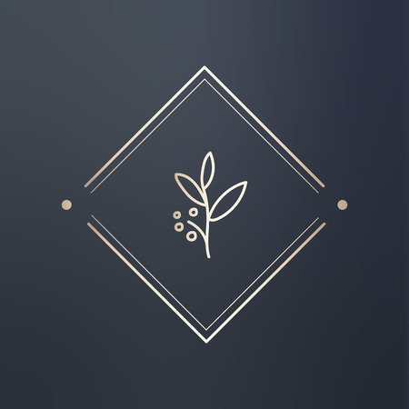 Floral rhombus logo design vector