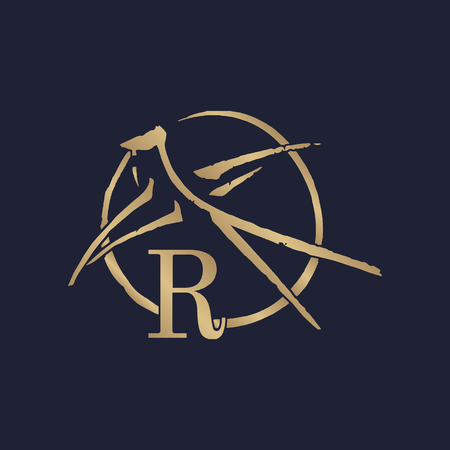 Vintage logo with the letter R vector