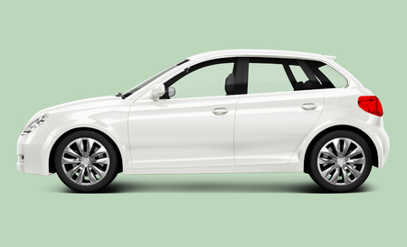 Side view of a white hatchback in 3D Stock Photo - 123234343
