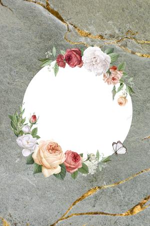 Floral round frame on a marble background illustration 写真素材 - 123234359