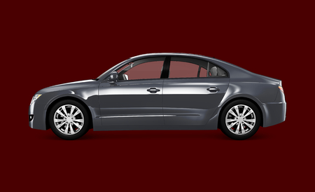 Side view of a gray sedan in 3D 스톡 콘텐츠