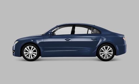Side view of a blue sedan in 3D Banco de Imagens