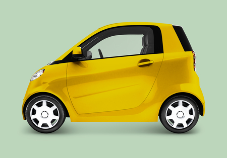 Side view of a yellow microcar in 3D