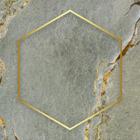 Golden frame hexagon on a marble textured background