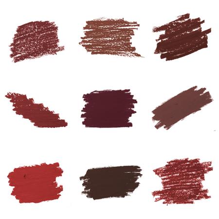 Set of red lipstick smudge badges