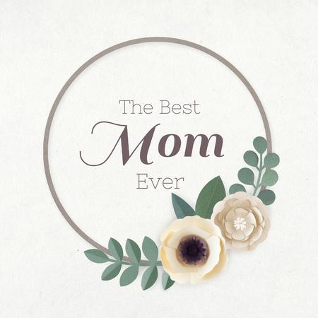 Round paper craft flower wreath vector