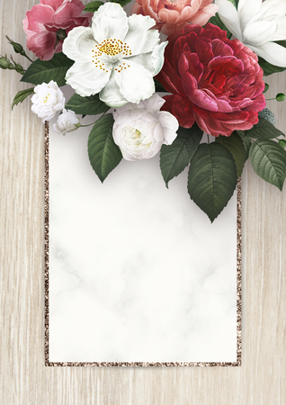 Floral frame on a wooden background illustration