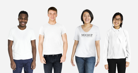 Happy diverse people wearing shirt mockups Stock Photo