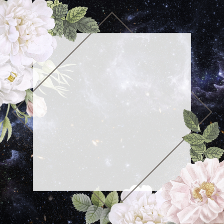 Frame on a galaxy background with musk rose illustration