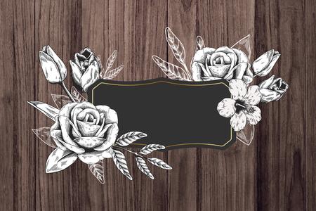 Floral frame brown wood textured background illustration