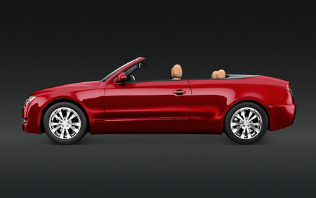 Side view of a red convertible in 3D Stock Photo