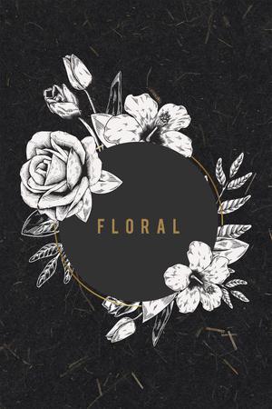 Floral frame on black background illustration Stock Photo