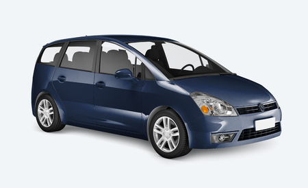 Side view of a blue minivan in 3D Stock Photo - 123234512