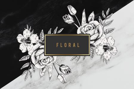 Floral frame two tones background illustration Stock Photo