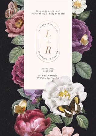 Floral frame on a black paper textured background illustration Banco de Imagens