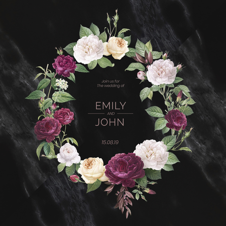 Floral wreath on a marble textured background illustration