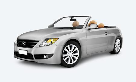 Seitenansicht eines silbernen Cabriolets in 3D