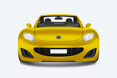 Front view of a yellow sports car in 3D