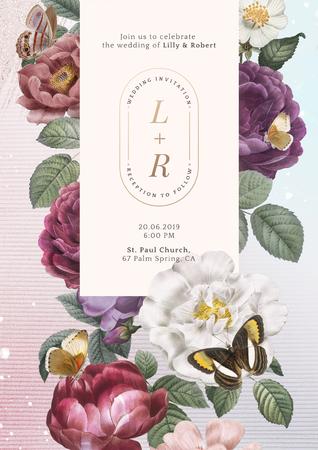 Floral frame on a pink background illustration Stock Photo