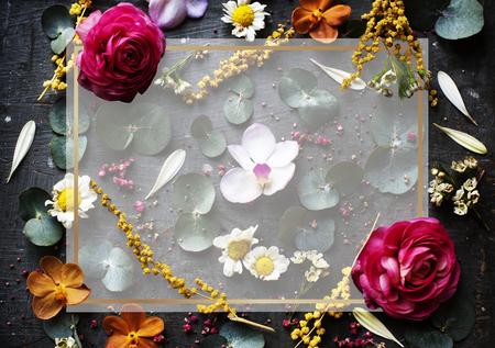 Transparent frame on a floral background