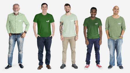 Diverse happy men raising awareness by wearing green shirt mockups Banco de Imagens