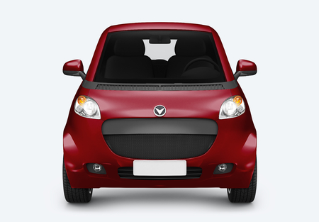 Front view of a red microcar in 3D