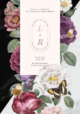 Floral frame on a marble textured background illustration 写真素材