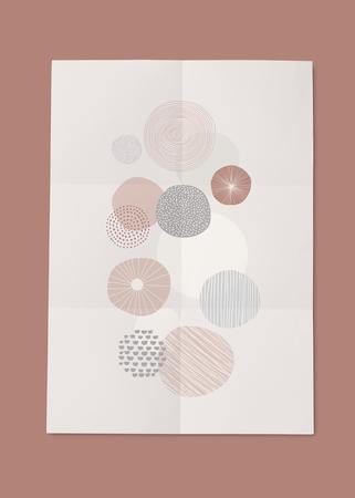 Doodle patterned poster template mockup illustration Stock Photo