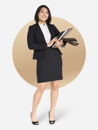 Asian businesswoman in a black suit character isolated on