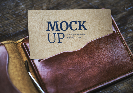 Kraft name card mockup in a leather wallet