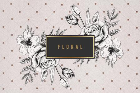 Floral frame on brown grid background illustration
