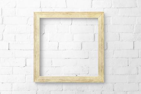 Minimal wooden frame mockup design Stock Photo