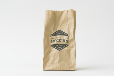 Recycle paper bag mockup Stock Photo