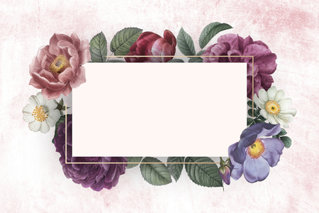 Floral banner on a pink concrete wall illustration Stock Photo