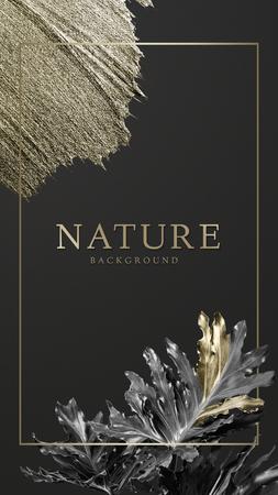 Cadre doré rectangulaire sur fond nature