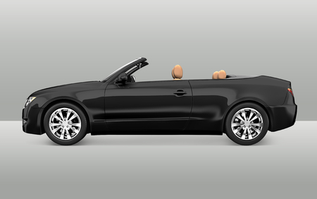 Seitenansicht eines schwarzen Cabrios in 3D