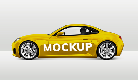 Side view of a yellow sports car in 3D Stock Photo - 123234756