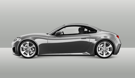 Side view of a gray sports car in 3D
